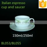 150ml Italian Espresso Coffee Cup with Saucer 250ml Round Shape Green Color Ceramic Bone China Cup With Saucer