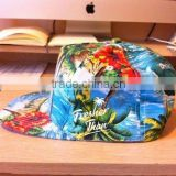 Custom fitted floral cloth strap back/snapback hat with leather patch