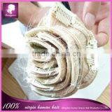 Best selling blond color European clip in hair extension machinery wave 100% virgin brazilian human hair