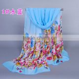 Wholesale blue flower silk printed scarf fashion chiffon wrap neck scaves Muffler shawls
