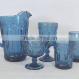 press Wine goblet,Hiball,DOF, sundae cup,pitcher in Ink blue color glass with flower point embossed pattern