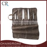 hign quality waxed canvas knife roll bag with leather handle and shoulder strap wholesale
