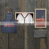 Hign Quality Denim Barber Apron with Genuine Leather Straps                                                                         Quality Choice