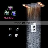 thermostatic led bath shower mixer set wall mounted mutifunctional shower faucet with massage body jet and hand shower