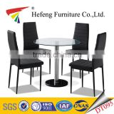 Classic furniture modern Style round clear tempered glass dining table with marble base