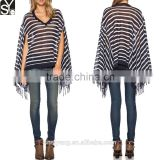 Semi Sheer V Neck Stripped Pullover Style Knitted Lady Shirt With Tassels Women Latest Cloak