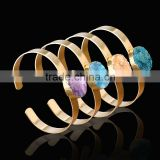 Natural Druzy Stone Luxury Bracelet Oval Rough Quartz Gold Plated Cuff Bangles