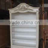 Antique White Paint Mahogany Bookcase With Drawers
