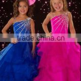 2012 lovely one shoulder beaded ruffles blue and fuschia pageant flower girl dresses CWFaf4203