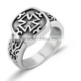 Custom Gay Mens Ring Cross 316L Stainless Steel Ring Silver Ring For Men