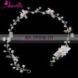 Pure Handmade Wedding Hair Accessory Bridal Bridesmaid Pink Flower Pearl Embellishment Hair Vine Women Headpiece