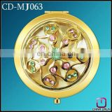 promotion round metal cosmetic mirror with flower gold CD-MJ063