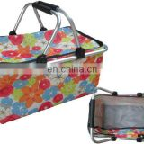 fashion flower printing picnic basket