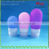 Blue/pink/purple Cute round silicone bottles with flip top cap, 38/60/80ml ball shape silica gel hand sanitizer bottle