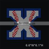 Wholesale custom design bling alphabet baseball letter X rhinestone transfer