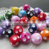 Newest Halloween Mixed Colorful color polka dot acrylic resin chunky beads for jewerly making !