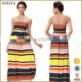Stylish Lady Women Sexy Strapless Sleeveless Backless Patchwork Wave Stripe Contrast Color Maxi Long Dress