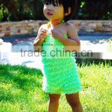 Popular little girls lace baby romper wholesale ruffle romper