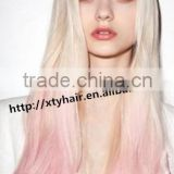 fashion women 100% brazilian remy human hair very long hair wig body wave virgin hair ombre color party cosplay wig