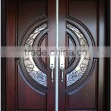 36 in. x 96 in. Exterior Front Entry Double House African Mahogany Wood Main Door Design With Art Glass Inlay