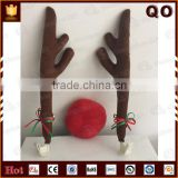 Best price car decoration Chinese supplier Christmas reindeer antlers and nose