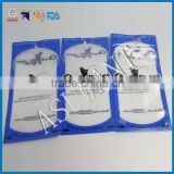 custom printing bule fish hook packaging clear plastic with hole