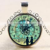 DIY Lover's clock necklace glass dome jewelry Photo glass dome jewelry Art photo necklace