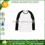 OEM custom cotton reglan plain blank long sleeve baseball t shirts with popular multi colour deisgn low moq 2015
