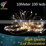 Outdoor 10M Copper wire string fairy lights 33 FT 100 led for Christmas light wedding lamp