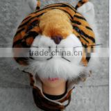 Plush tiger hats with hook and loop