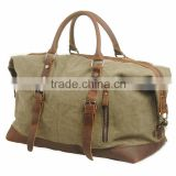 European style large capacity tote travel bag,16 OZ canvas foldable duffel bag,lightweight portable messenger bag