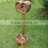 wood flower pot with bird feeder