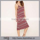 Dress Women 2016 Garment Factory New Arrived Tribal Print Cami Dress,V-Neck ,Curve Hem ,Square Cut Back Dress fo Women