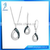 Silver Jewelry Set Blue and White Diamond Earrings And Necklaces
