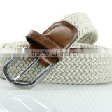 Beige Braided Elastic Stretch Belt with Leather Tip
