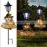 autumn harvest festival outdoor decoration metal scarecrow led solar garden light