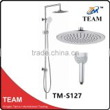 TM-S127 bathroom ultra thin round chrome shower head stainless steel shower set faucet exposed rain shower set