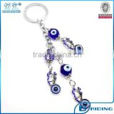 cute butterfly charm with glass evil eye bead metal car keyring wholesale