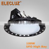 Aluminum body 150W UFO LED High Bay Fixtures with MW driver factory price