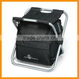 Folding Travel cooler bag stool with shoulder stripe