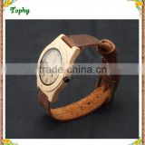 2016 best selling zebra wooden wood watch genuine leather Brown strap for men/ women/student bamboo and wood watch