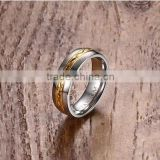 KSF IP Gold Plated Titanium Wedding Ring Titanium Ring With Middle Gold Plated Design Rings 2016