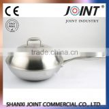 3 Layer Hot sale Stainless Steel Wok Pan,Chinese Wok no ear