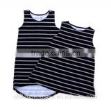 Summer Baby Clothes Wholesale Boutique Sleeveless Black Stripes Girl Casual Soft Loose Dress
