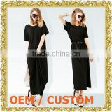 Custom long dress with print one piece dress with belt black long skirt made in china clothes women casual dress