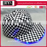 Multi-functional Caps snapback hat with built-in led light black and white plaid pu leather snapback hat