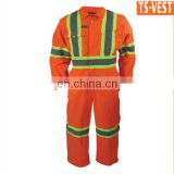 Hot sell long-sleeve workwear fireproof reflective safety coverall