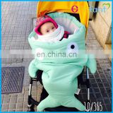 soft and warm shark baby sleeping bag used in outdoor stroller