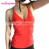 Latest Design Red Sleeveless Low Back Women Fitness Sport T Shirt