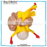 new product promotion gift key chains with rubber squishy toy chicken lays eggs for kids